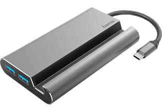 HAMA 135764 7IN1 USB-C DOCK - Station d'accueil (Gris)