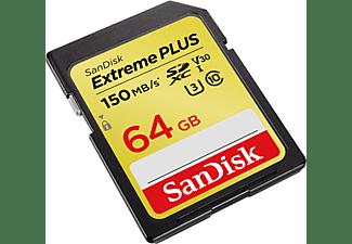 SANDISK Extreme PLUS, SDXC Speicherkarte, 64 GB, 150 MB/s