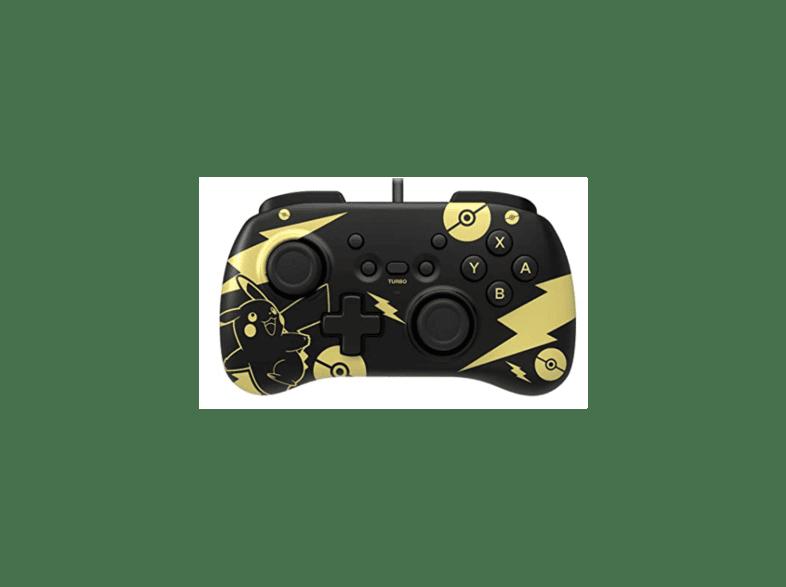 Mando - Hori Horipad Mini Pokémon: Pikachu Black & Gold, Para Nintendo Switch, Cable, Negro / Oro