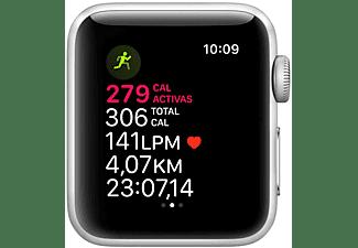 Apple Watch Series 3 GPS, 38 mm, Caja de aluminio en plata y correa deportiva, Blanco