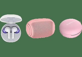 LG HBS-FN6.APL2P, In-ear Kopfhörer Bluetooth Weiß/Bubble Gum