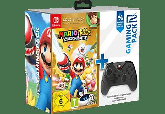 READY 2 GAMING Nintendo Switch Mario & Rabbids Kingdom Battle (Gold) + Pro Pad X Controller Schwarz