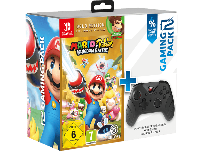 READY 2 GAMING Nintendo Switch Mario Rabbids Kingdom Battle Gold Pro Pad X Controller Schwarz