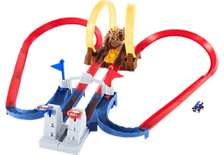 HOT WHEELS Mario Kart Bowsers Festung Track-Set inklusive Spielzeugauto Autorennbahn Mehrfarbig