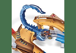 HOT WHEELS Monster Trucks Skorpion-Beschleuniger Rennbahn Set inklusive 2 Spielzeugautos Mehrfarbig