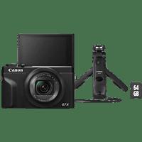 CANON PowerShot G7 X Mark III Vlogging Kit Digitalkamera Schwarz, 20.1 Megapixel Megapixel, 4,2fach opt. Zoom, Touchscreen-LCD (TFT), WLAN