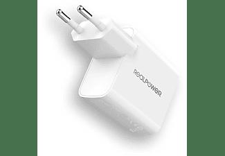 REALPOWER PC-20 Ladeadapter Apple, Samsung, Huawei und mehr, 12 Volt 20 Watt, Weiß