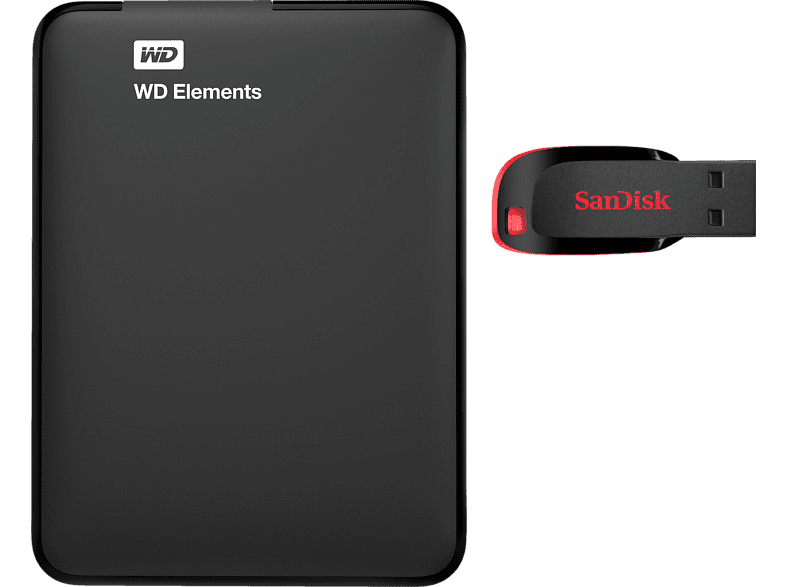 WESTERN DIGITAL Elements HDD 1TB + SanDisk 32 GB Stick