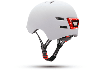 Casco - Youin LED, Para patinete eléctrico o bicicleta, Talla L, Luz trasera, Blanco