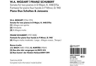 Piano Duo Scholtes & Janssens - Sonata for two pianos in D Major, K. 448/375a   Fa  - (CD)