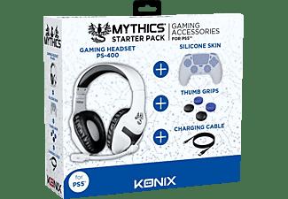 KONIX Starter Pack für PS5 (Kopfhörer,Ladekabel,Silikon Schutzhülle,Daumenauflagen), Zubehörset PS5, Schwarz/Weiß