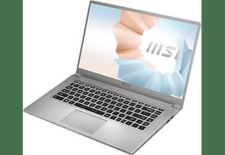 MSI Modern 15 A11M-062, Notebook mit 15,6 Zoll Display, Intel® Core™ i7 Prozessor, 8 GB RAM, 512 GB SSD, Intel® Iris® Xe Grafik, Urban Silver