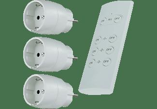 REV Funk-Schalt-Set Kompakt 1 Fernbedienung + 3 Schaltsteckdosen Weiß Funksteckdose