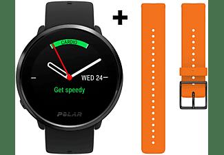 Reloj deportivo - Polar Ignite, Funciones salud, GPS, Frecuencia cardíaca, Negro + Correa naranja