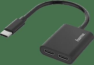 HAMA 2in1 USB-C-Stecker auf 2x USB-C-Buchse Audio Adapter, Schwarz