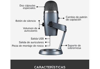 Micrófono - Blue Yeti Nano, USB, Windows y Mac, Grabación, Streaming, Gris