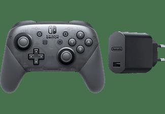 NINTENDO Switch Pro Controller + USB Adapter BUNDLE (Nur online) Controller Grau/Schwarz