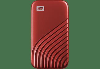Disco duro externo 500 GB - WD My Passport SSD, Portátil, Lectura 1050 MB/s, USB 3.2, Para Windows y Mac, Rojo