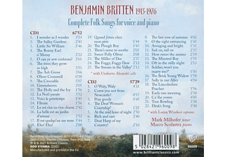 Scolastra,Marco/Milhofer,Mark - BRITTEN: COMPLETE FOLK SONGS FOR VOICE AND PIANO  - (CD)