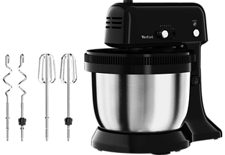 TEFAL QB1108 Oh My Cake Küchenmaschine Schwarz/Edelstahl (Rührschüsselkapazität: 4 Liter, 300 Watt)