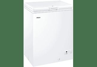 Congelador horizontal - Haier HCE143F, 142 l, Cesto metálico, 84 cm, Interior aluminio, Blanco