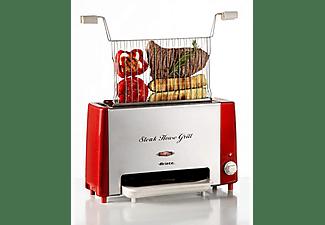 Grill - Ariete Steak House Grill 730 Vertical, Potencia 1300W, Doble resistencia, Inox, Rojo
