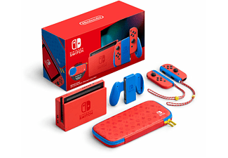 """Consola - Nintendo Switch Modelo 2019 (Ed. Mario), 6.2"""", Joy-Con, Azul y Rojo"""