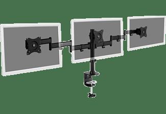 DIGITUS Dreifach Monitor Ständer mit Klemmbefestigung, 15-27 Zoll, max. 24 kg, Schwarz