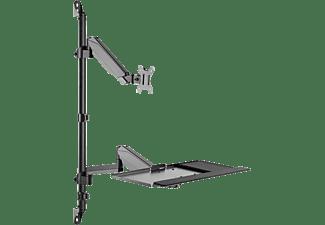 DIGITUS Steh-/ Sitz-Arbeitsplatz zur Wandmontage,17-32 Zoll, max. 1-8kg, Schwarz