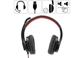 HAMA HS-USB400, Over-ear Headset Schwarz