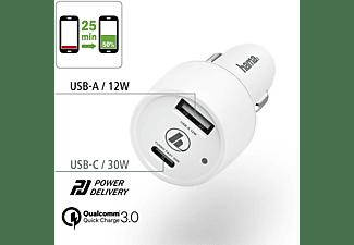 HAMA USB-C, Power Delivery (PD)/Qualcomm KFZ-Ladegerät Universal, Weiß