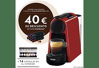 Cafetera de cápsulas - Nespresso® De Longhi EN85R Essenza Mini, 19 bares, 0.6 l, Rojo rubí