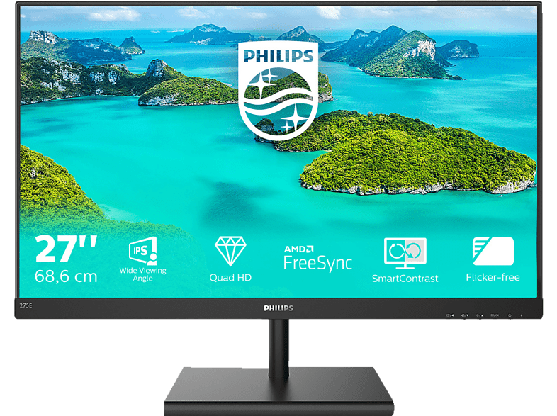 PHILIPS 275E1S 00 27 Zoll QHD Monitor 4 ms Reaktionszeit, 75 Hz