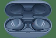 SONY WF-SP800N, Earbuds, Ladeetui, In-ear Kopfhörer Bluetooth Blau