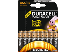 Pilas AAA - Duracell Plus Power LR03, Alcalino, 1.5 V, 18 Uds