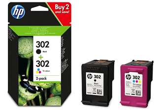 Cartucho de tinta - HP 302  Combo 2 Pack de tinta negro/tricolor, X4D37AE