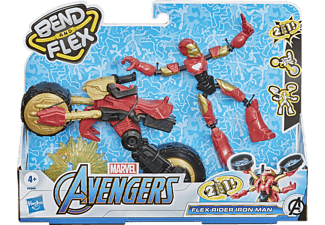 HASBRO Marvel Bend and Flex, Flex Rider Iron Man mit 2-in-1 Motorrad Spielset Mehrfarbig