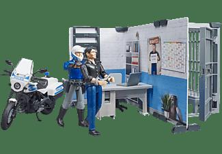 BRUDER bworld Polizeistation mit Polizeimotorrad Spielset