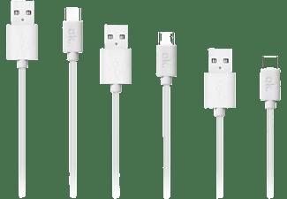 Cable USB - OK OZB-543, De USB a USB Tipo-C, Pack de 3, Tamaños diferentes, Blanco