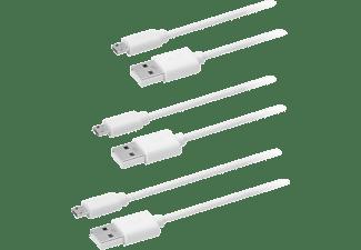 Cable USB - OK OZB-503, De USB a Micro USB, Pack de 3, Tamaños diferentes, Blanco