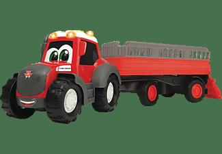 DICKIE TOYS ABC Massey Ferguson Animal Trailer, Traktor mit Anhänger Spielzeugauto Rot