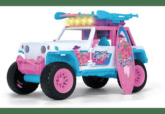 DICKIE TOYS Pink Drivez Flamingo Jeep mit Boards für Stand up Paddling, Armband Spielzeugauto Rosa