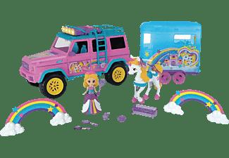 DICKIE TOYS Pink Drivez Unicorn Trailer, Mercedes Benz AMG 500 Geländewagen mit Einhorn und Anhänger Spielzeugauto Mehrfarbig