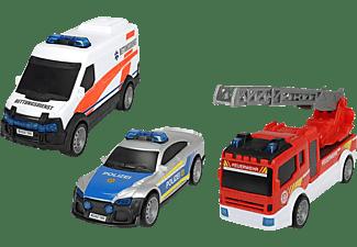 DICKIE TOYS SOS Team Set, 3er Spielset bestehend aus Rettungswagen, Polizei & Feuerwehrauto Spielzeugauto Mehrfarbig