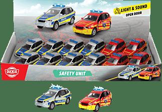 DICKIE TOYS Safety Unit Display, Feuerwehrauto und Polizeiauto Spielzeugauto Mehrfarbig