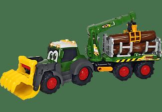 DICKIE TOYS Happy Fendt Forester, Traktor mit Anhänger Spielzeugauto Grün