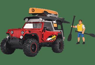DICKIE TOYS Adventure Traveller, Jeep, Campingdach, Kanu, Licht & Sound Spielzeugauto Grün