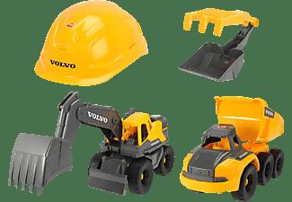 DICKIE TOYS Volvo Baustellen Spielset, 2 Volvo Baufahrzeuge, Helm, Schaufel/Rechen mit Sieb Spielzeugauto Gelb