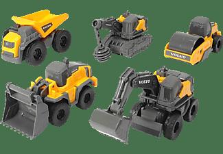 DICKIE TOYS Volvo Micro Workers, 5er Spielzeugset Baustelle Spielzeugauto Gelb