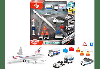 DICKIE TOYS Flughafen inklusive 3 Spielzeugautos, Flugzeug, Zubehör Spielset Mehrfarbig